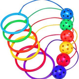 Balles accrochées à anneaux couleurs en plastique pour enfant