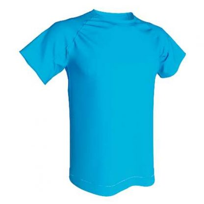 T-shirt technique 100% polyester- Bleu Cian