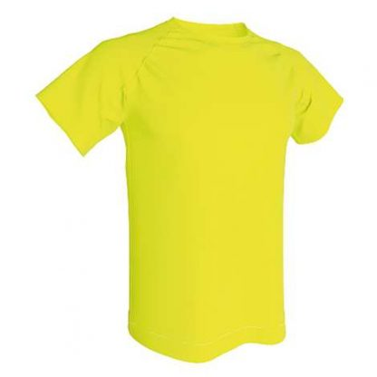 T-shirt technique 100% polyester- Jaune fluo