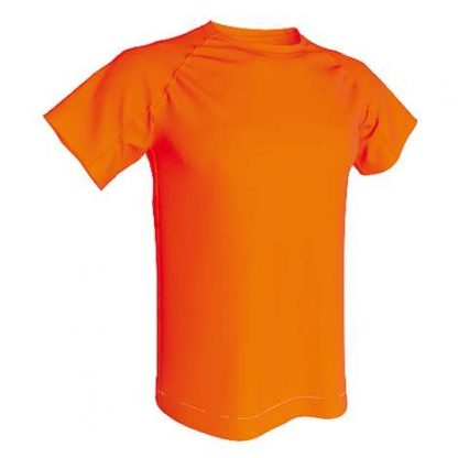 T-shirt technique 100% polyester- Orange fluo