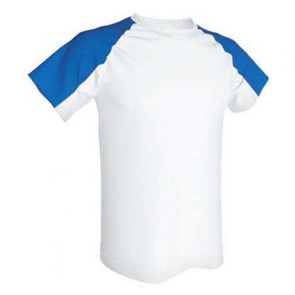 T-shirt technique bicolore-Blanc-Roy
