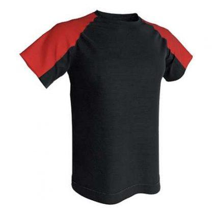 T-shirt technique bicolore-Noir-Rouge