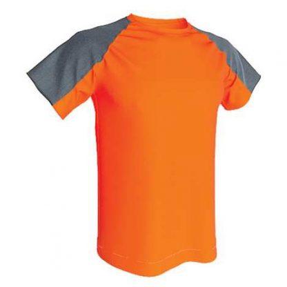 T-shirt technique bicolore-Orange fluo-Gris
