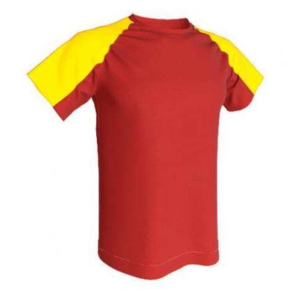 T-shirt technique bicolore-Rouge-Jaune