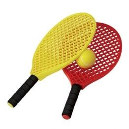 mini tennis raquettes rouge et jaune